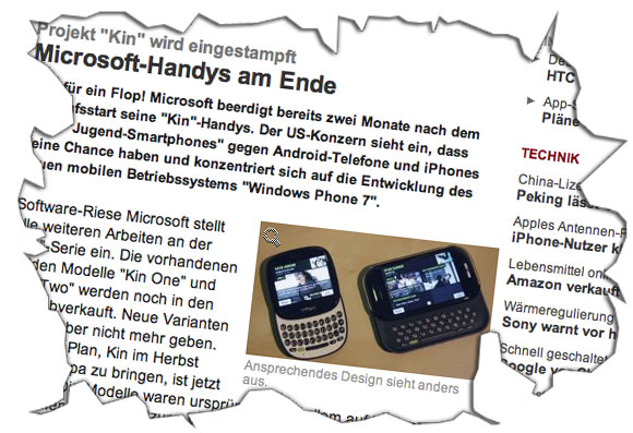 Microsofts Kin am Ende